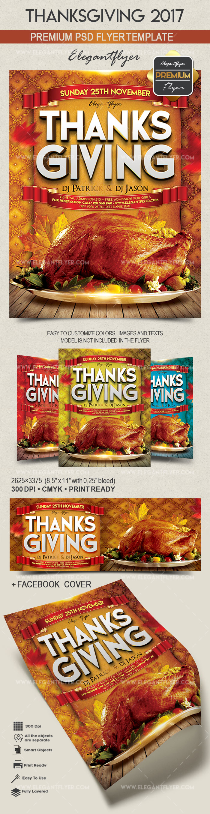 Thanksgiving 2017 – Flyer PSD Template + Facebook Cover