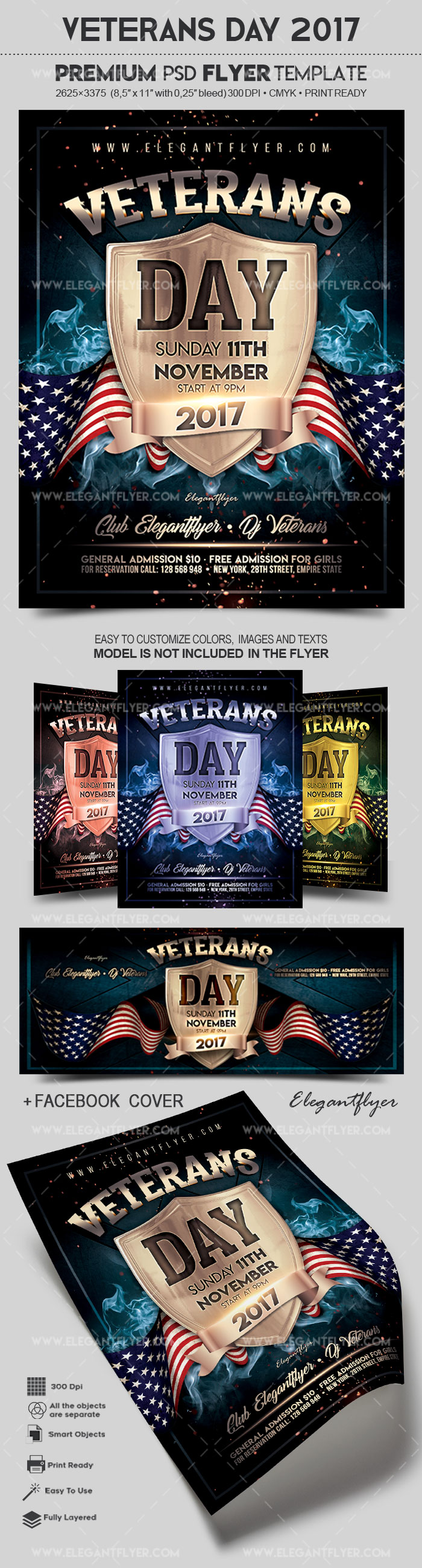 Veterans Day 2017 – Flyer PSD Template