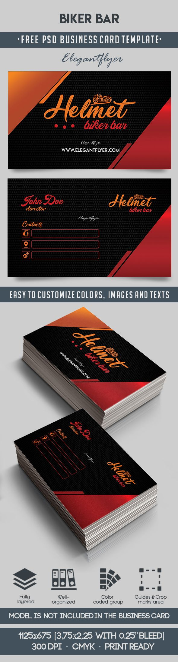 Biker bar free business card templates psd by elegantflyer biker bar free business card templates psd reheart Image collections