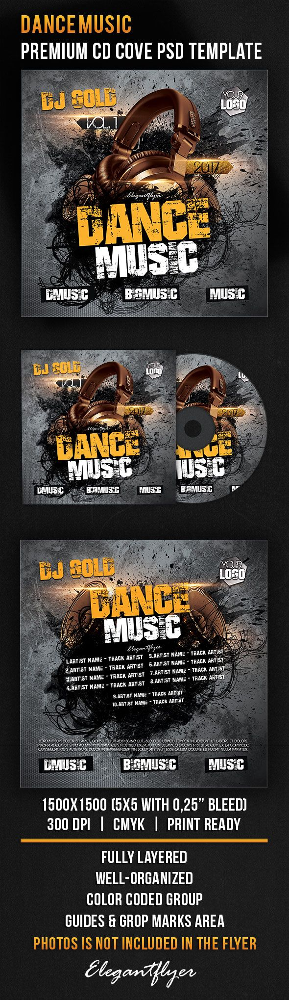 Dance Music – Premium CD Cover PSD Template