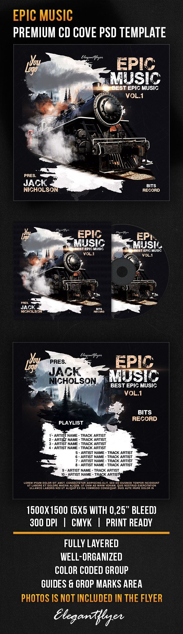 Epic Music – Premium CD Cover PSD Template