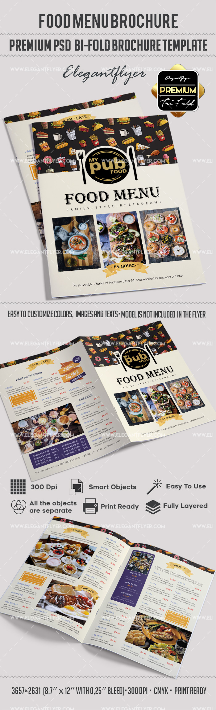 Food menu brochure template by elegantflyer for 2 fold brochure template psd
