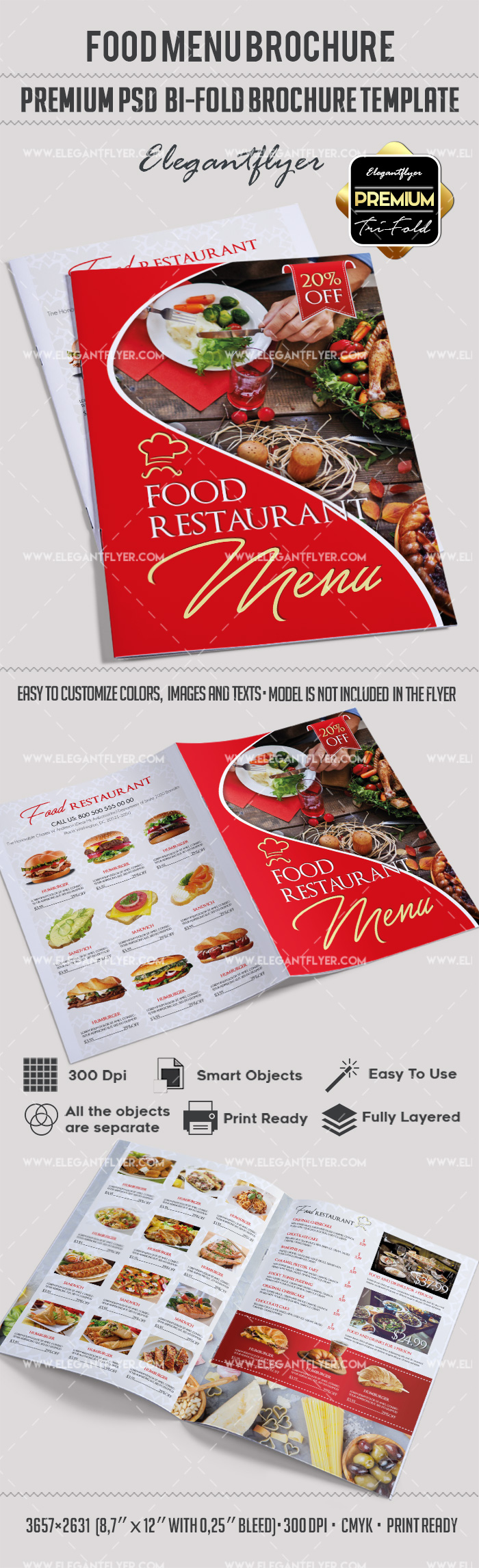 Food menu bi fold brochure template by elegantflyer for Free food brochure templates