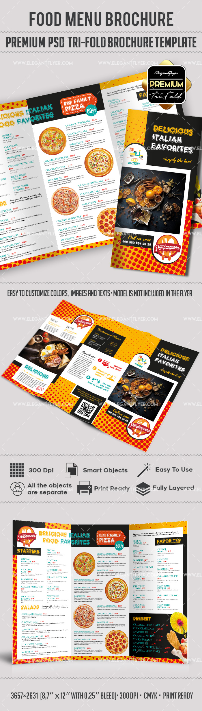 Food menu templates for tri fold brochure by elegantflyer for Free food brochure templates