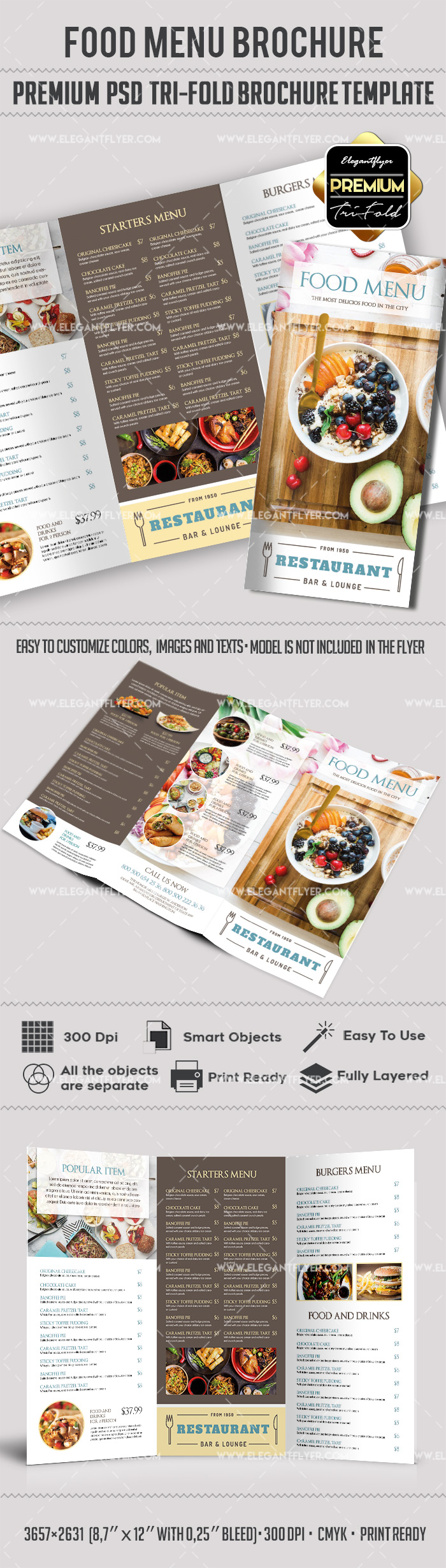 Food Menu Premium TriFold PSD Brochure Template By ElegantFlyer - Menu brochure template