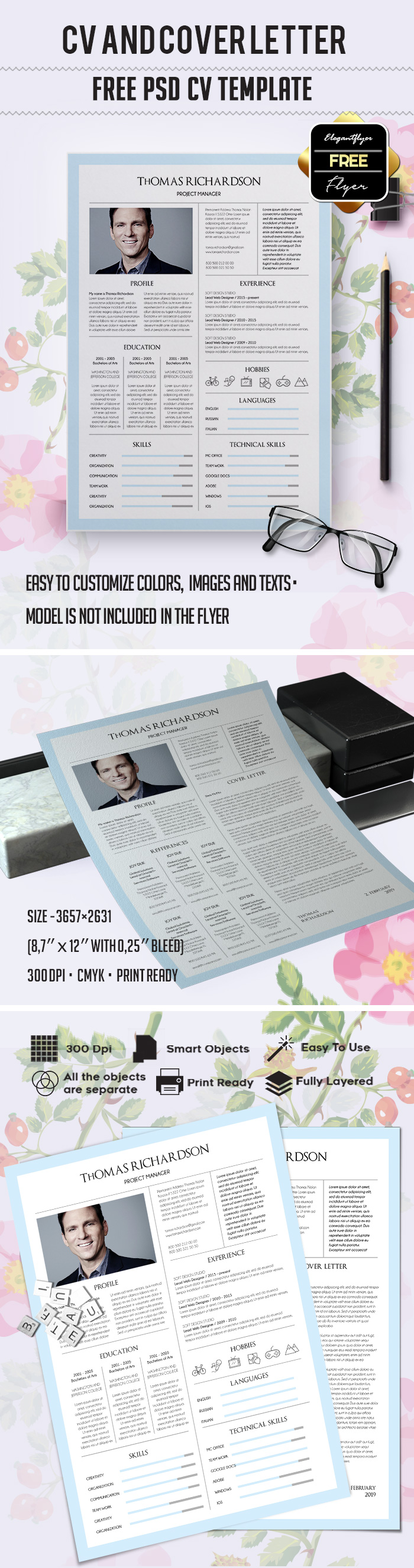 Free Printable Resume Template in PSD