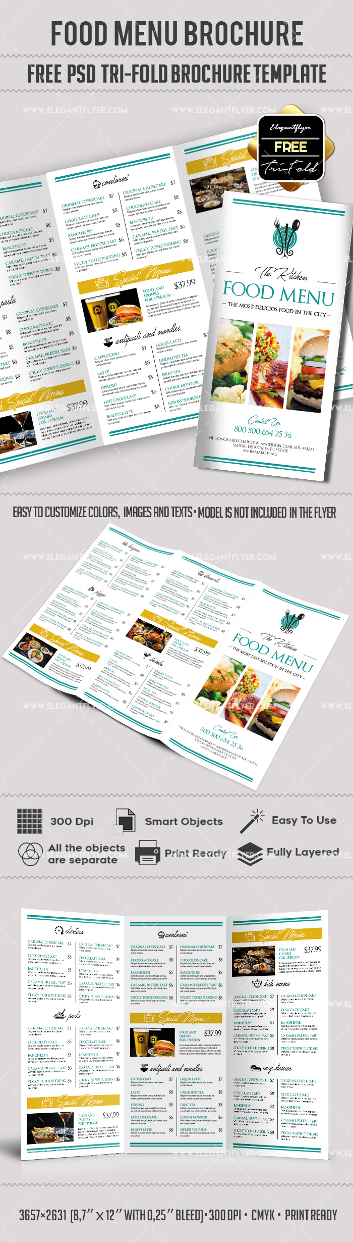 Free food menu tri fold psd brochure template by for Free food brochure templates