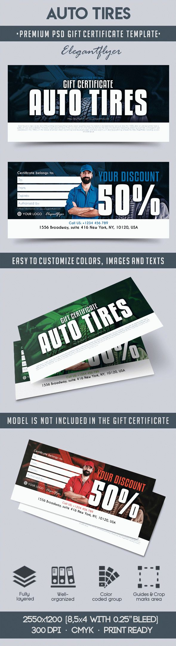 Auto Tires – Premium Gift Certificate PSD Template