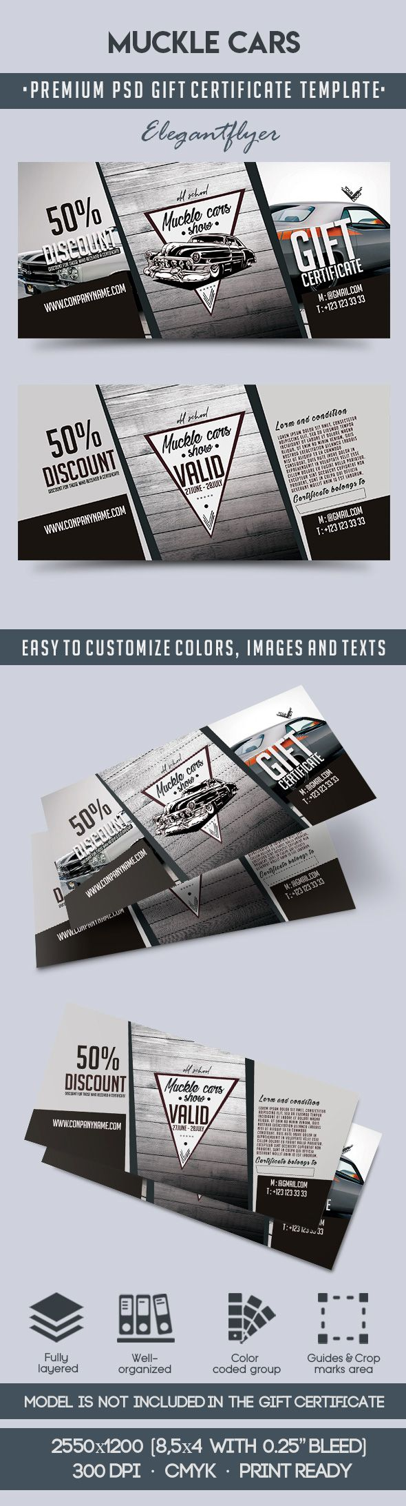 Muckle Cars – Premium Gift Certificate PSD Template