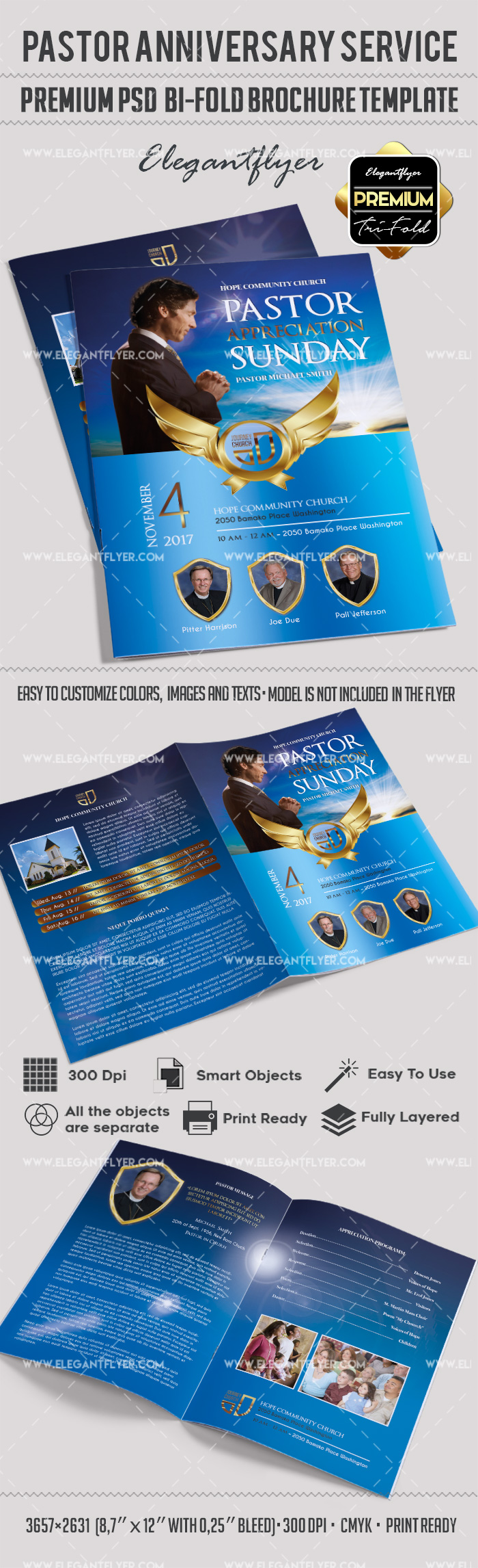2 fold brochure template psd - bi fold brochure for pastor appreciation sunday by