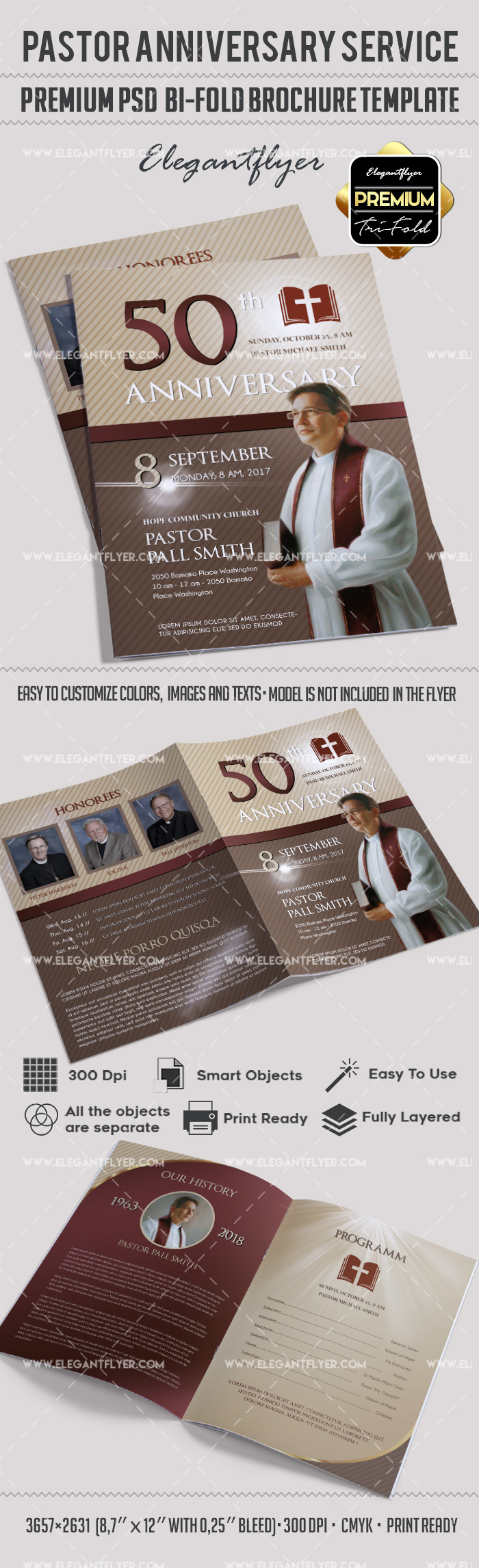 Pastor anniversary service in psd by elegantflyer for Bi fold brochure template publisher