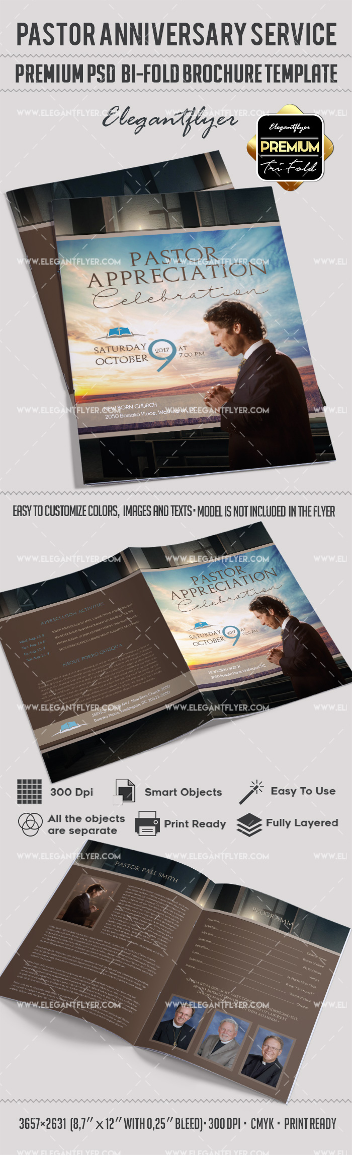 free bi fold brochure templates - pastor appreciation day brochure by elegantflyer
