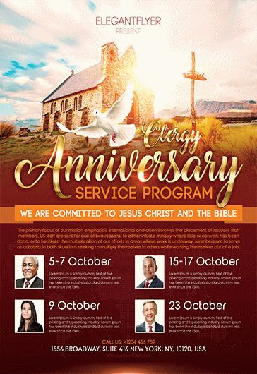 Wonderful Free Clergy Anniversary Service Program Flyer Template U2013 By ElegantFlyer