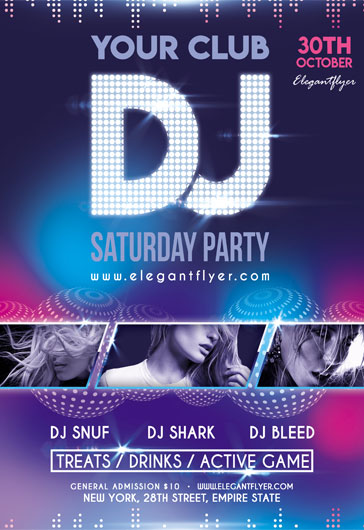 DJ Saturday party v02 – Flyer PSD Template