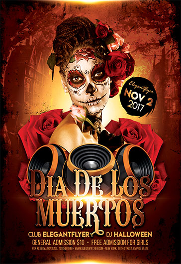 party flyer for dia de los muertos  u2013 by elegantflyer