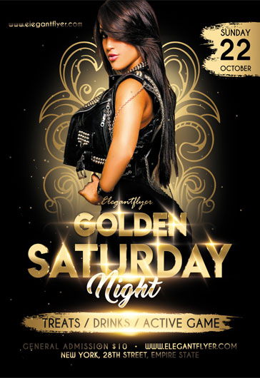 Golden Saturday Party – Flyer PSD Template