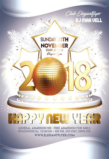 happy new year 2018 flyer psd template by elegantflyer