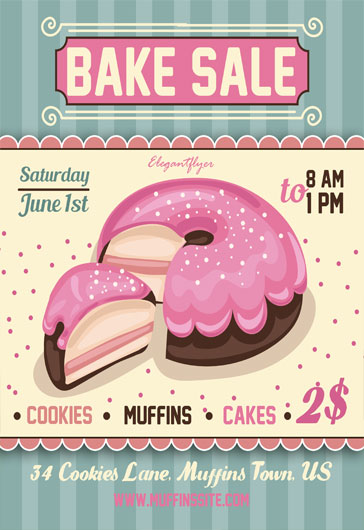 Cupcake Bake Sale Psd Flyer  By Elegantflyer