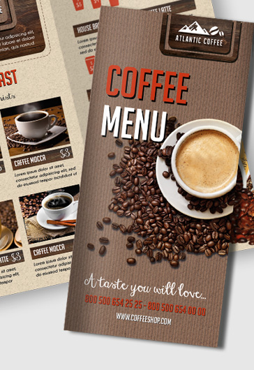 Coffee Menu – Premium Tri-Fold PSD Brochure Template