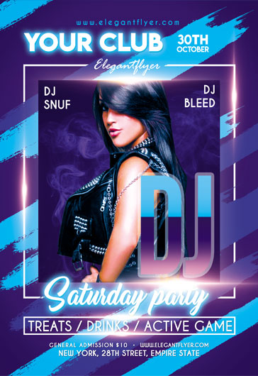DJ Saturday party – Flyer PSD Template