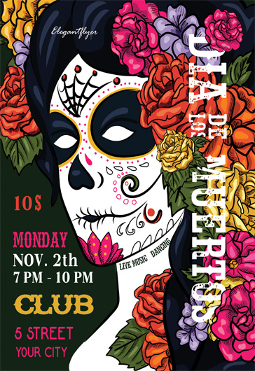 Flyer Template for Dia de Los Muertos Face Paint