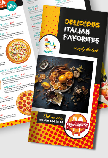 Food Menu Templates for Tri-Fold Brochure