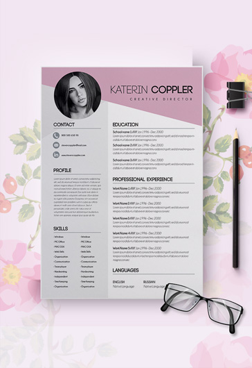 One Page Resume Template CV And Cover Letter