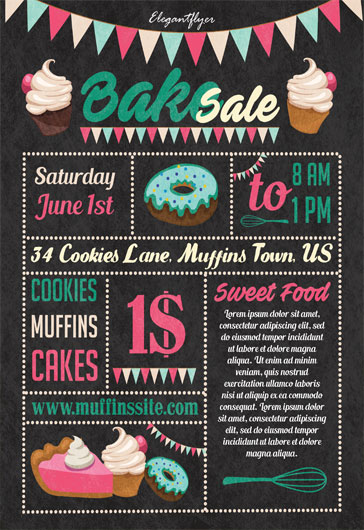 bake sale free flyer template  u2013 by elegantflyer