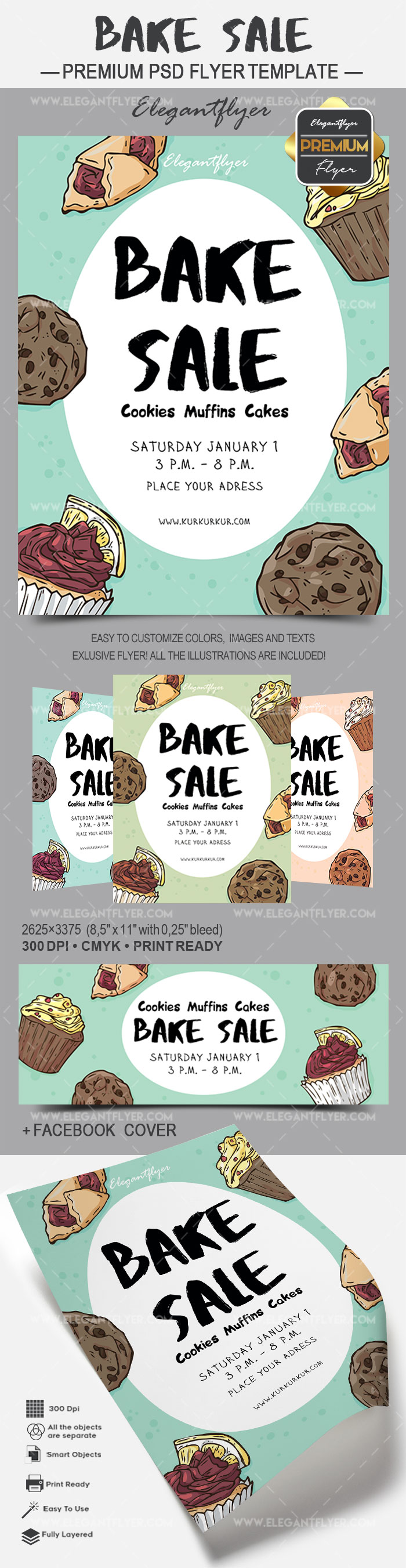 Flyer for Bake Sale Cookies Muffins Cakes
