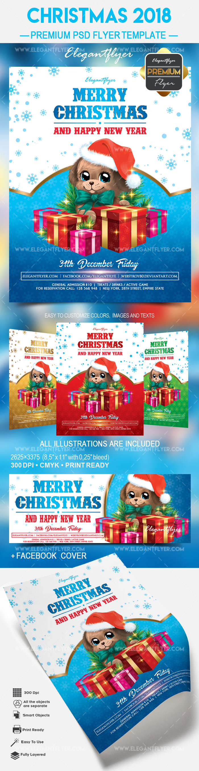 Dog Christmas Gifts PSD Template