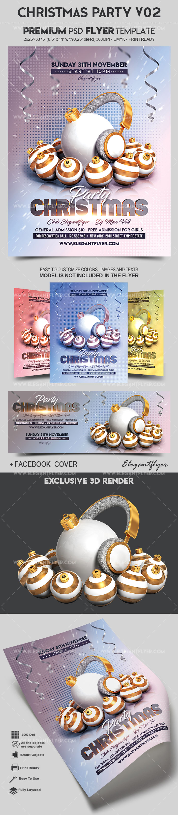 Christmas Party V02 – Flyer PSD Template + Facebook Cover
