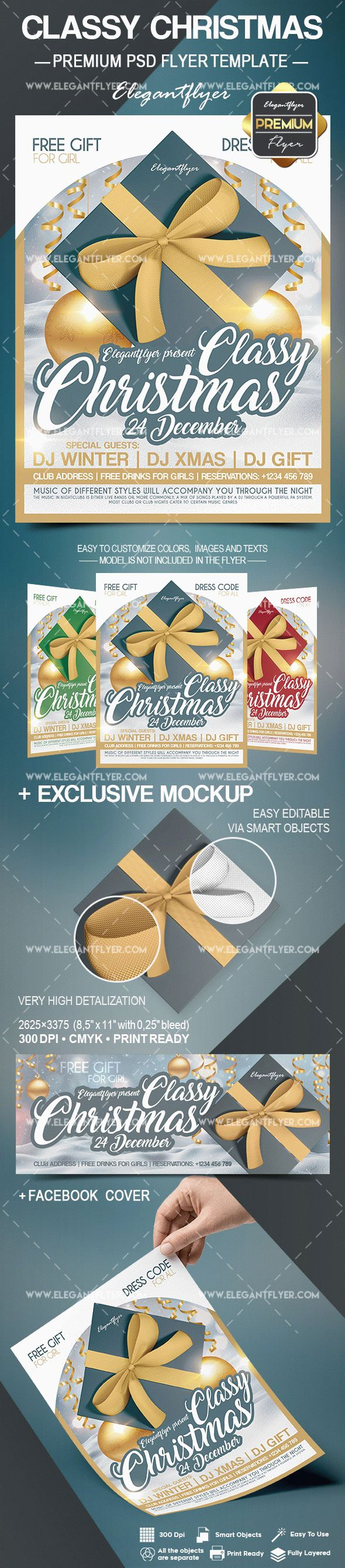 Classy Christmas – Flyer PSD Template + Facebook Cover