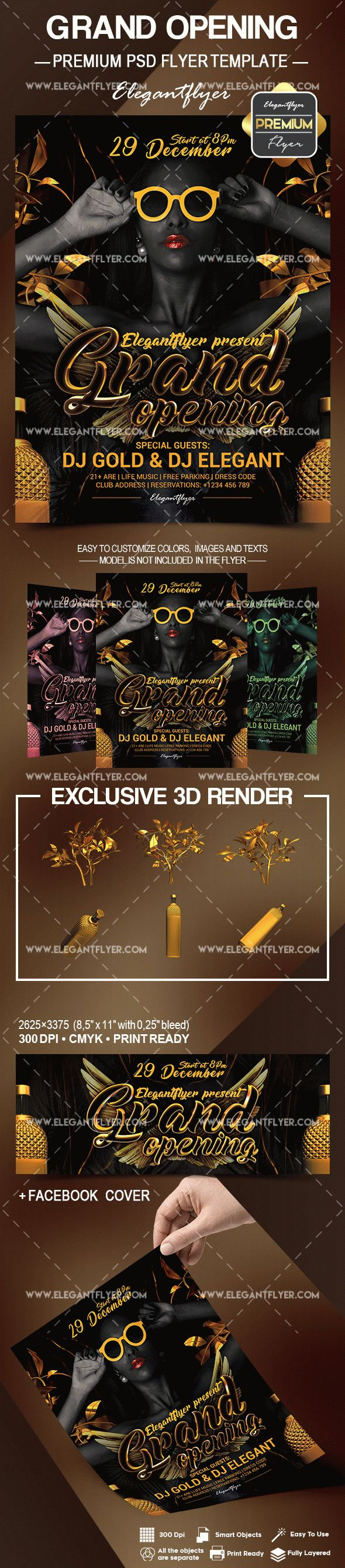Party for Black and Gold Grand Opening Poster