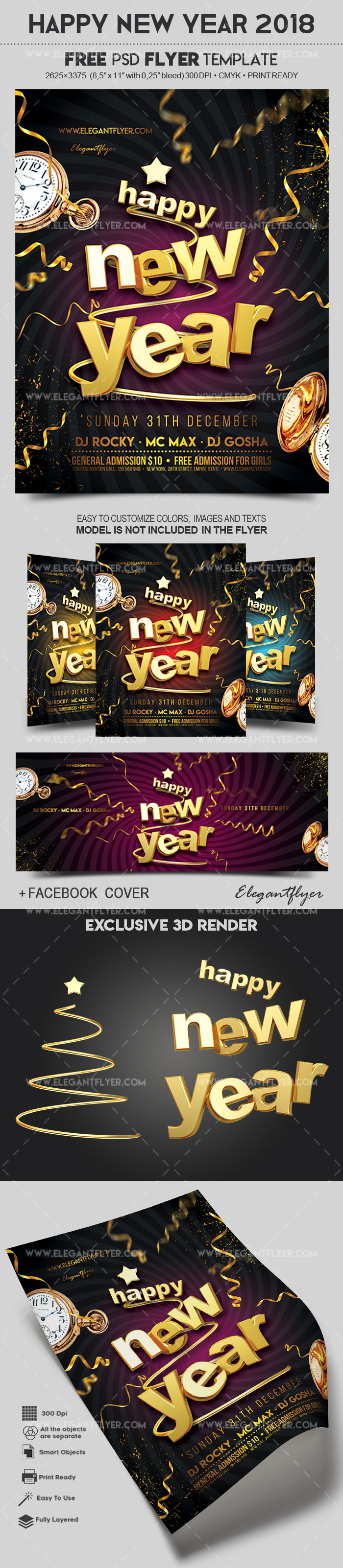 happy new year 2018 free flyer psd template