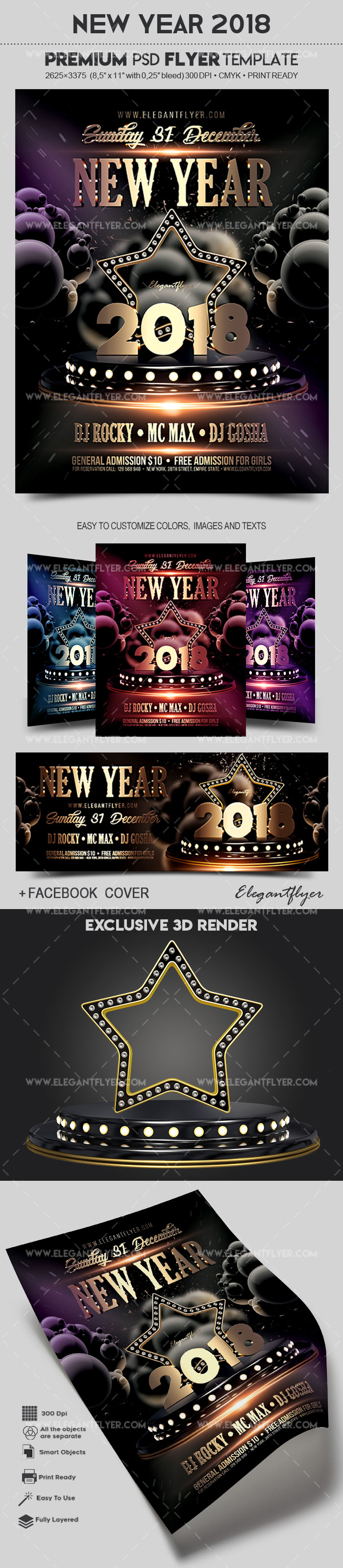 New Year 2018 – Flyer PSD Template + Facebook Cover