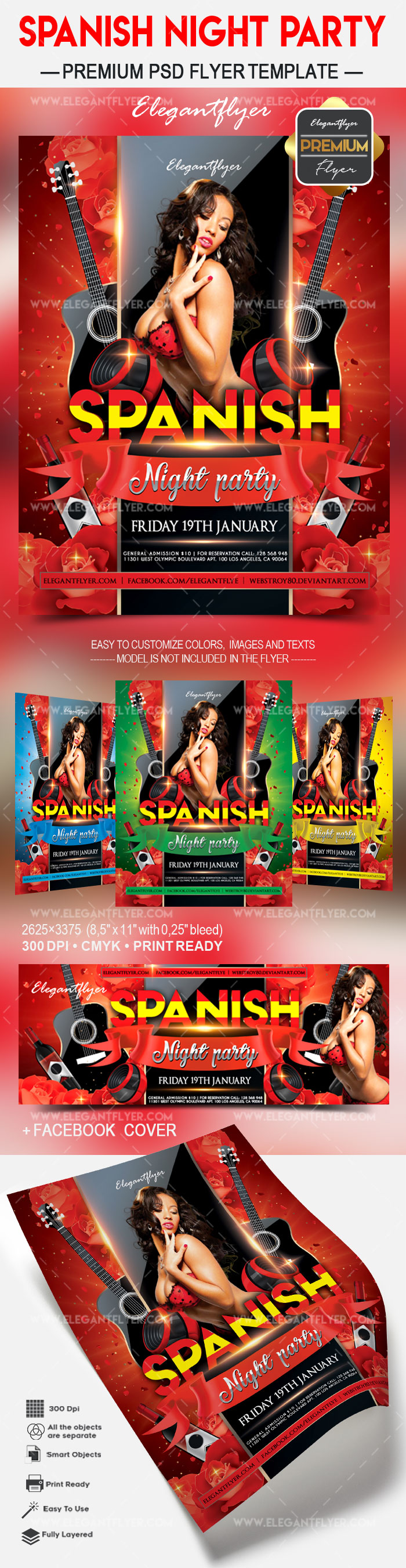Spanish night party – Flyer PSD Template