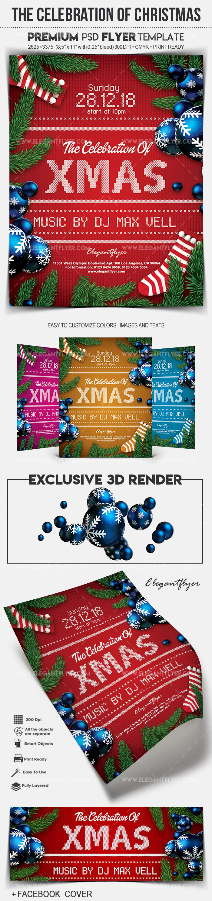 The Celebration Of Christmas – Flyer PSD Template