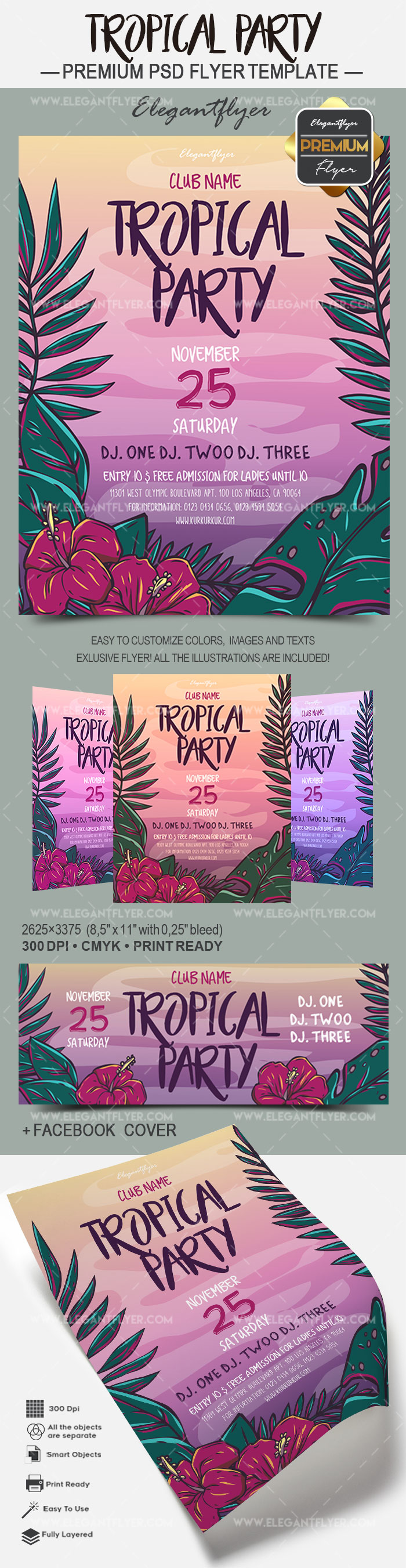 Tropial Party – Flyer PSD Template