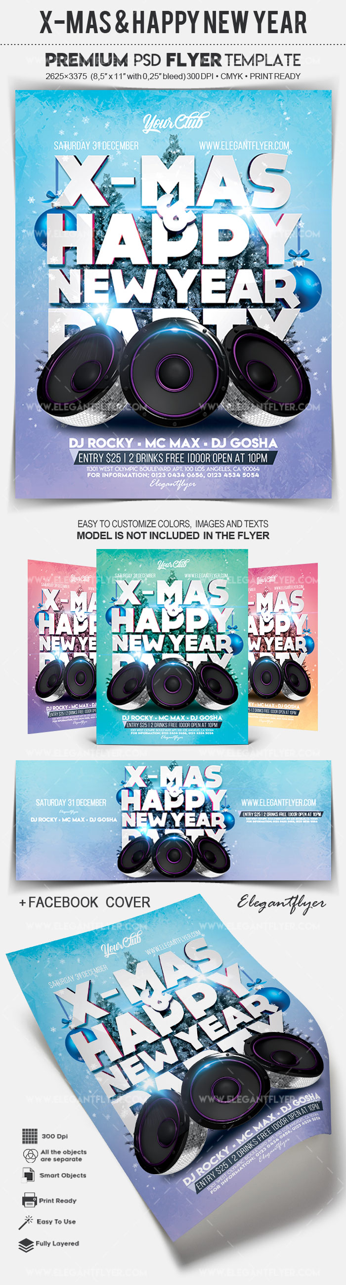 X-Mas & Happy New Year – Flyer PSD Template