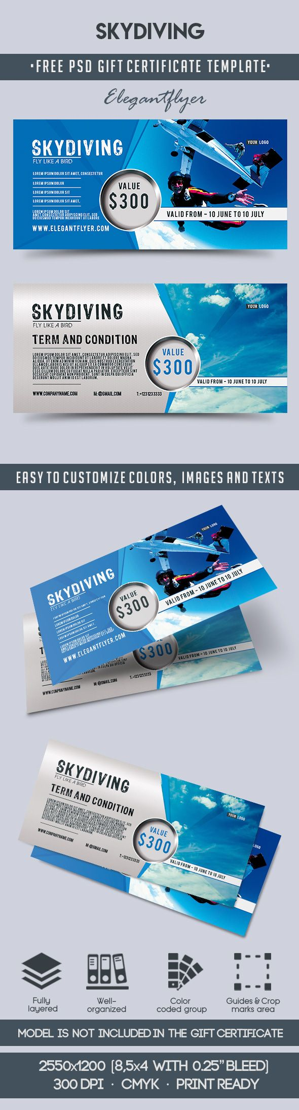 Skydiving – Free Gift Certificate PSD Template