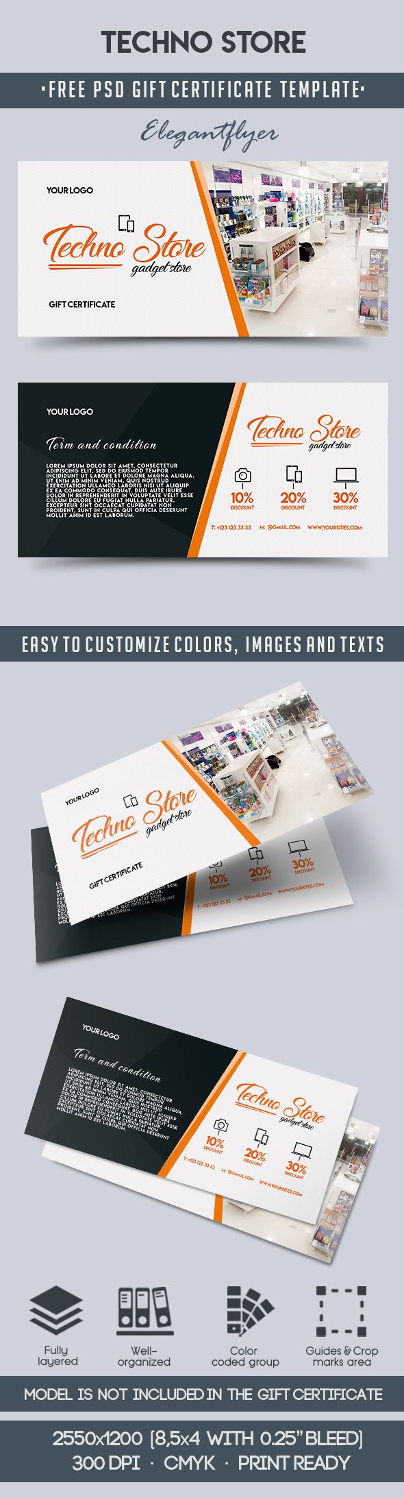 Techno Store – Free Gift Certificate PSD Template