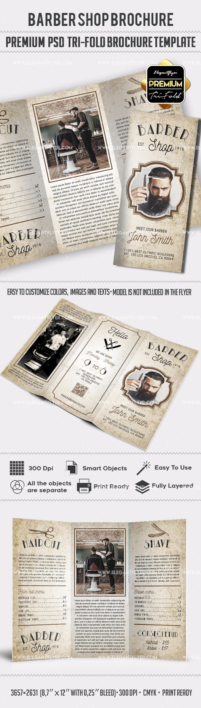 Tri-Fold Brochore for Elite Barbershop