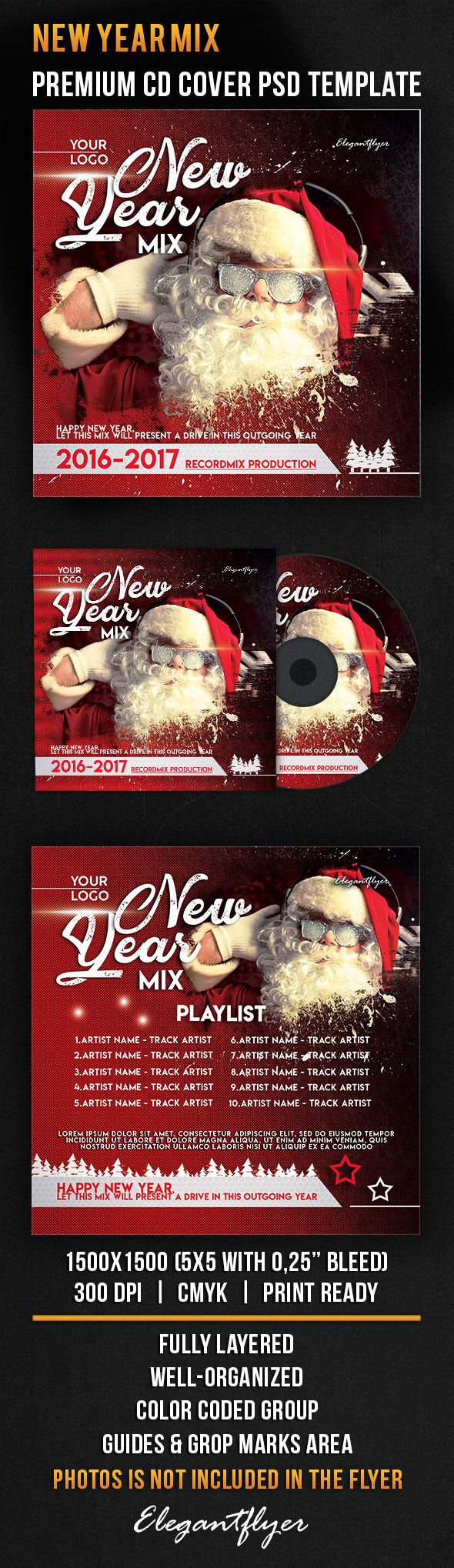 New Year Mix – Premium CD Cover PSD Template