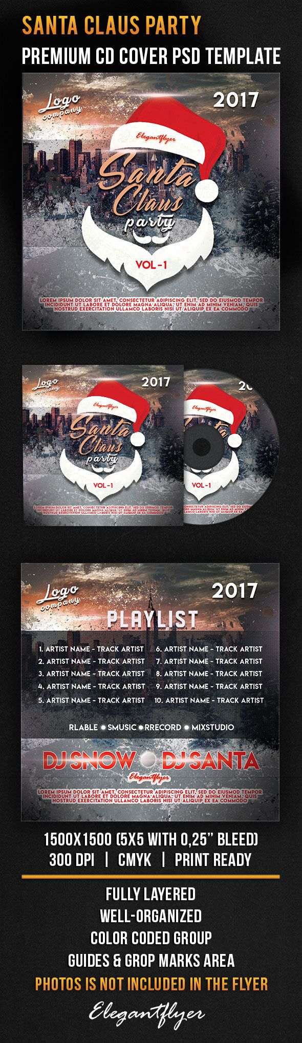 Santa Claus Party – Premium CD Cover PSD Template