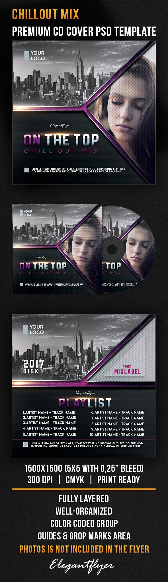 Chillout Mix – Premium CD Cover PSD Template