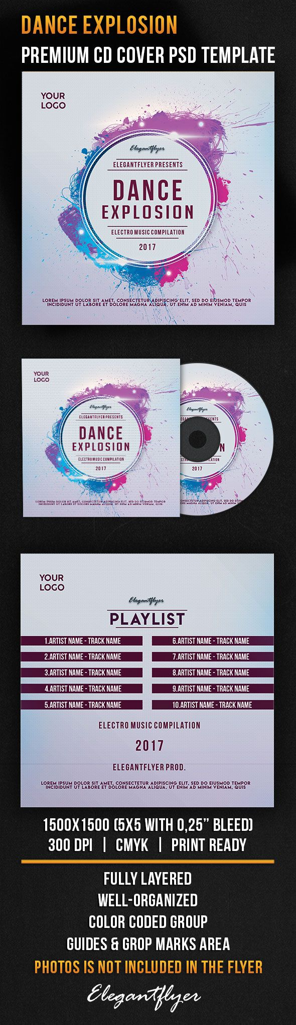 Dance Explosion – Premium CD Cover PSD Template