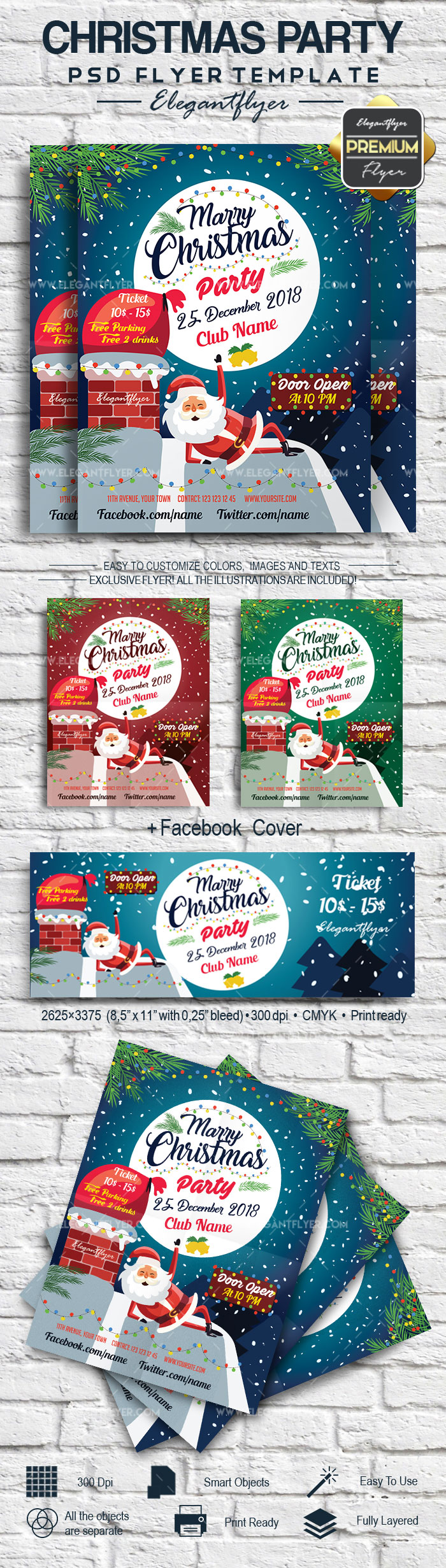 Marry Christmas Party – Flyer PSD Template + Facebook Cover
