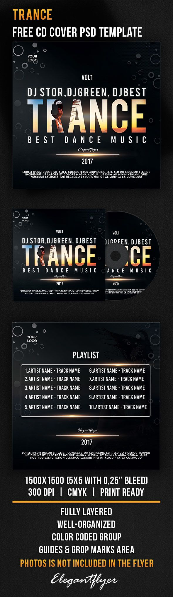 Trance – Free CD Cover PSD Template