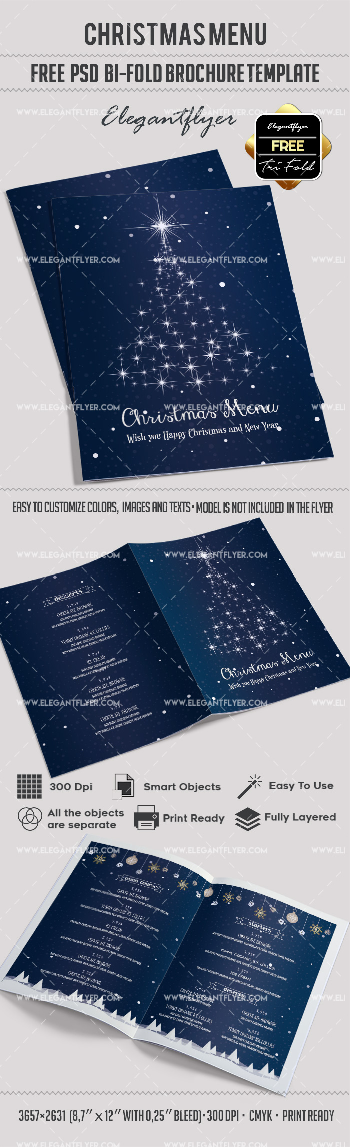 menu brochure template free - free christmas menu bi fold psd brochure template by