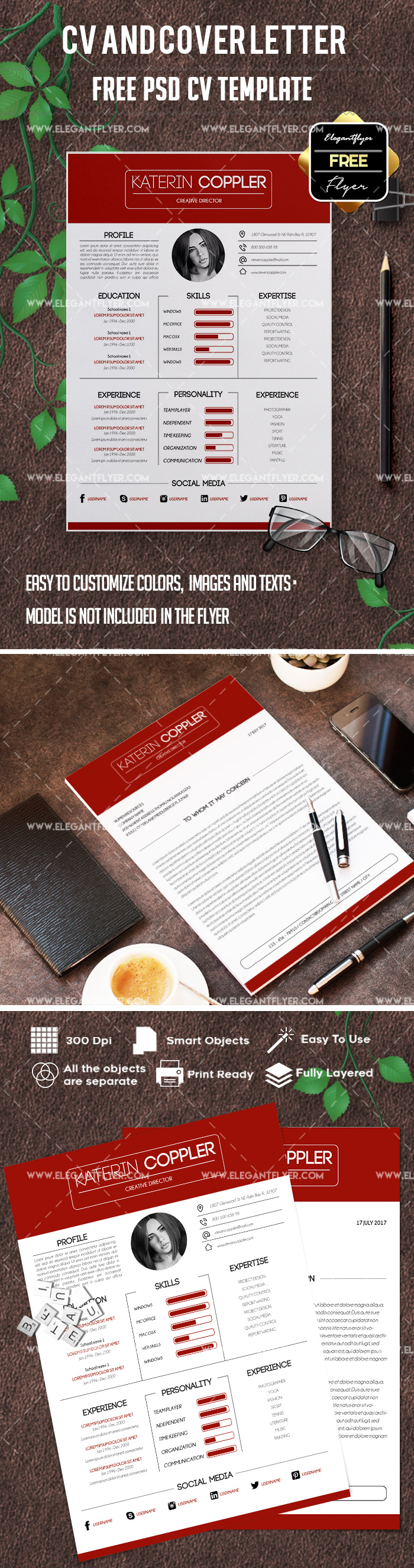 Free Great CV Cover Letters PSD Template
